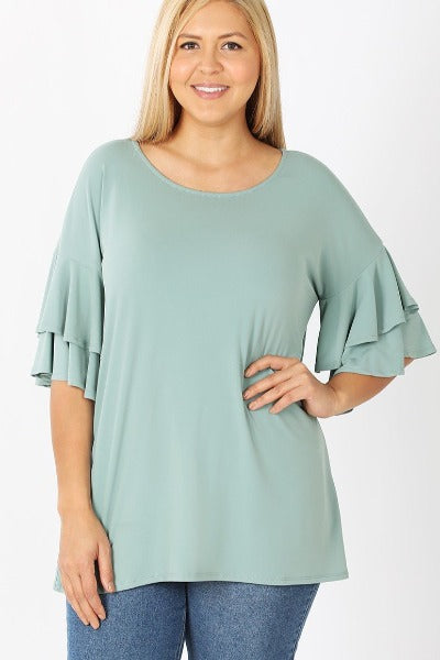 Plus Zen Double Ruffle Top