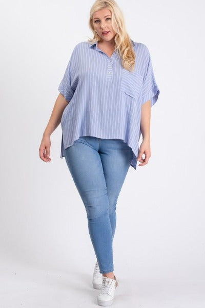 Plus Oversized Stripe Pocket Top