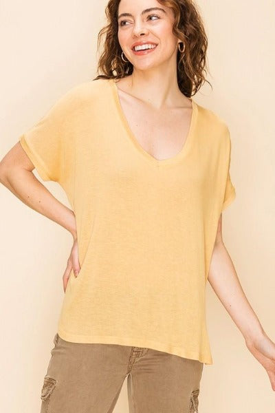 V-Neck Knit Solid Top