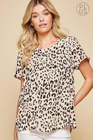 Plus Perfect Leopard Woven Top