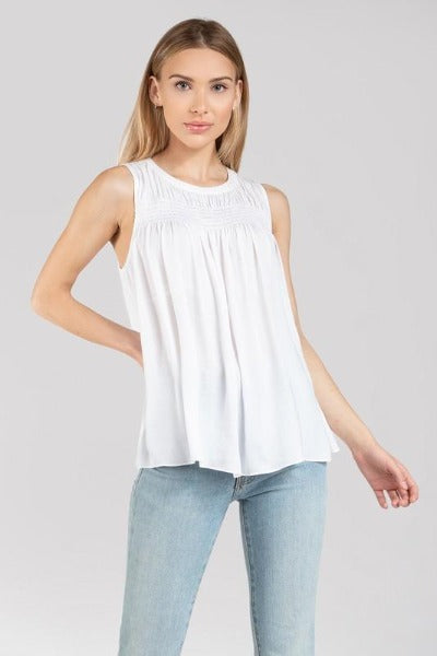 Smocked Yoke Sleeveless Top