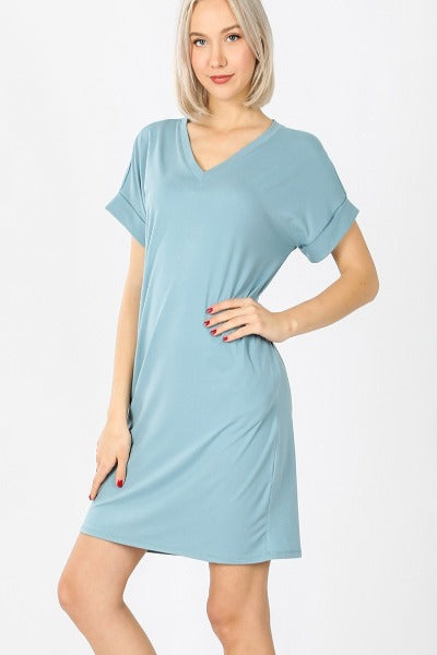 "Plus Zen 33"" Roll Sleeve V-Neck Dress"
