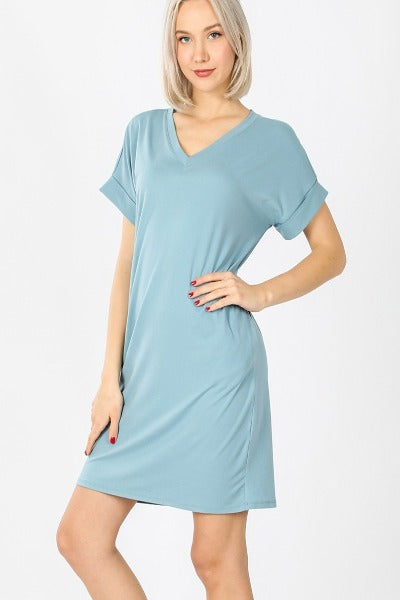 "Zen 33"" Roll Sleeve V-Neck Dress"