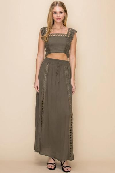 Two Piece Lace Trim Maxi Set