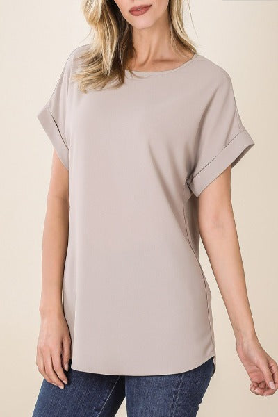 Plus Zen Dobby Roll Sleeve Scoop Top