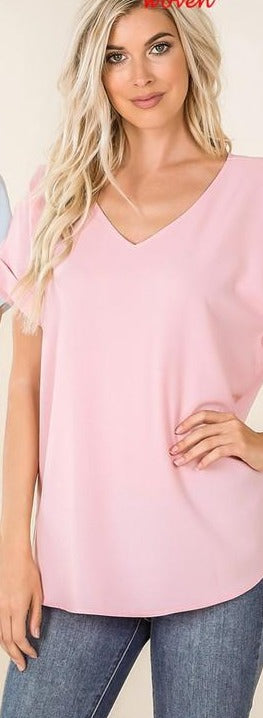 Plus Zen Dobby Roll Sleeve V Top