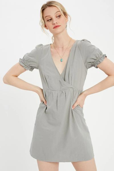 Shirred Puff Sleeve Dress