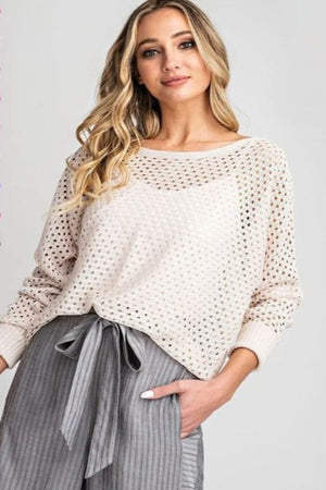Ribbed Cuff Open Knit Sweater