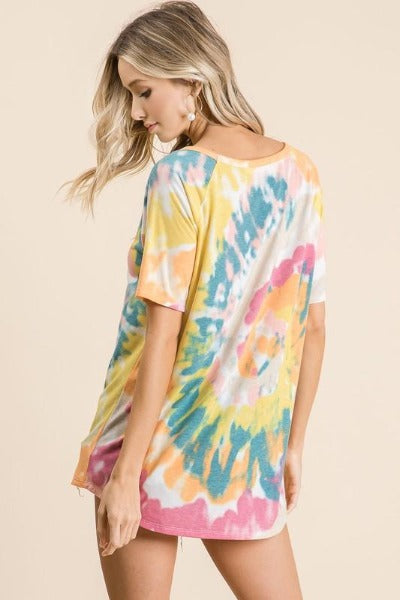 Contrast Stitch Tie Dye Top