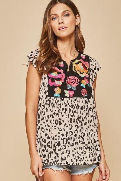 Embroidered Leopard Front Top