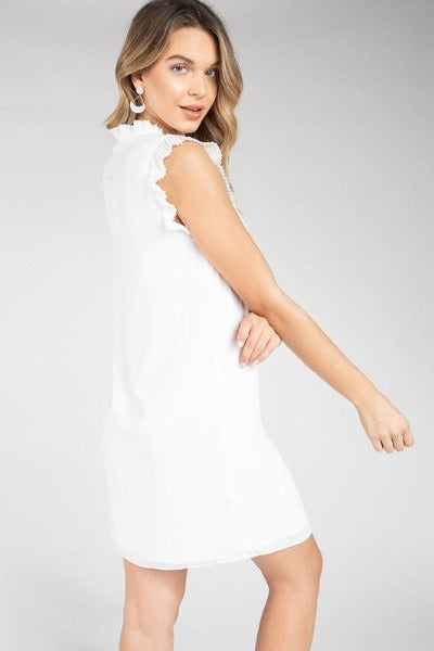Pleated Collar Shift Dress
