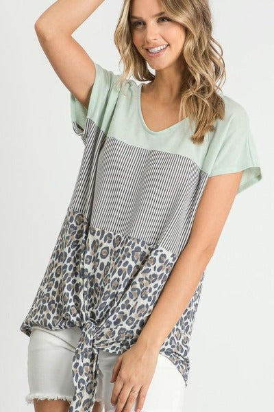 Striped Leopard Colorblock Top