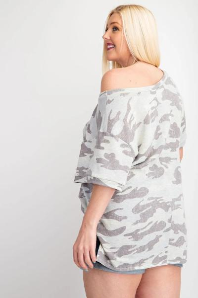 Plus Wide Neck Brushed Camo Top