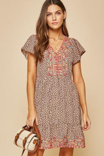 Flutter Sleeve Embroidered Leopard Dress