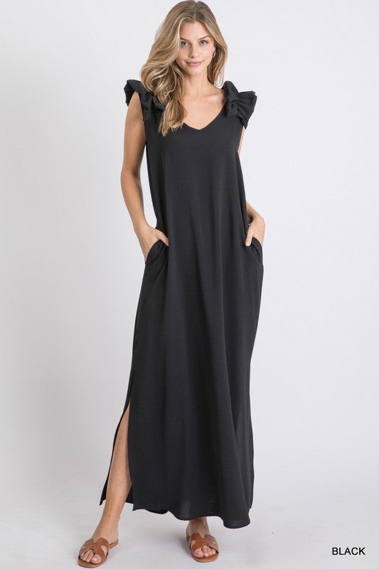 Ruffle Shoulder Sleeveless Maxi Dress