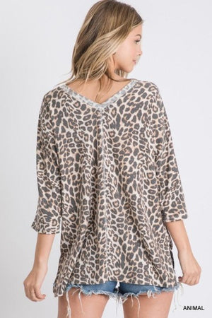 Faded Leopard Wide V Knit Top