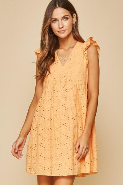 Eyelet V-Neck Babydoll Dress