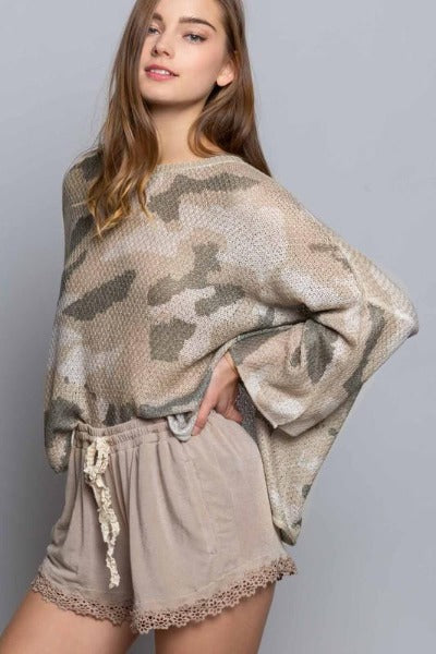 Lightweight Camo Sweater Top
