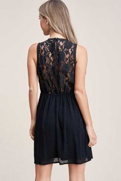 Lace Top Swiss Dot Dress