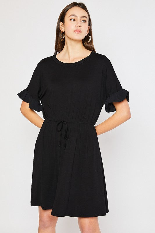 Ruffle Sleeve Mix Media Dress