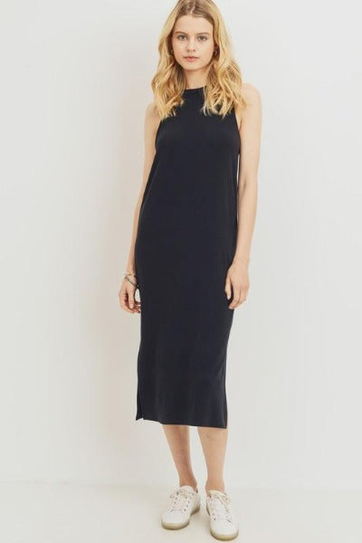 High Neck Sleeveless Midi Dress