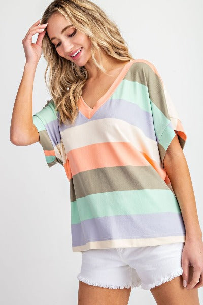 Chunky Stripe V-Neck Top