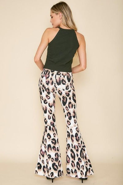 Large Print Animal Flare Jeans