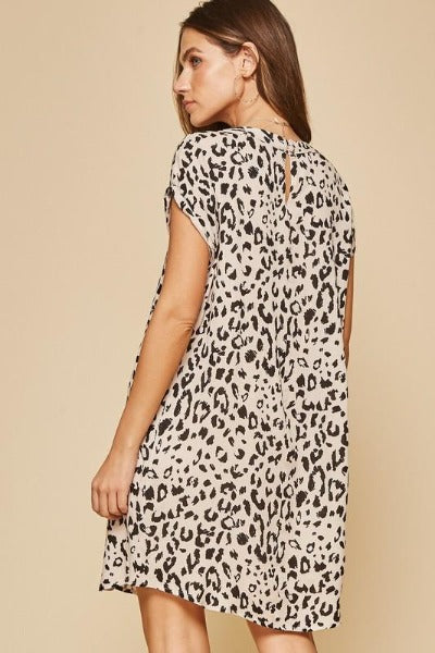 Front Pleat Animal Shift Dress