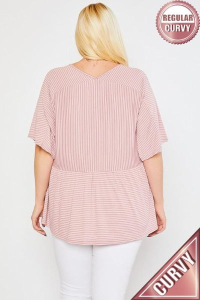 Plus Stripe Babydoll Top