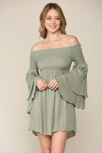 Off Shoulder Smocked Tunic Dress