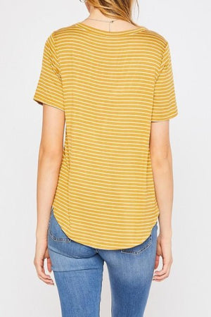 Short Sleeve Stripe Round Neck Top
