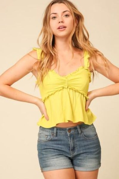 Sleeveless Ruffle Crop Top