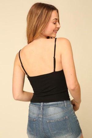 Shirred Front Sleeveless Ribbed Top