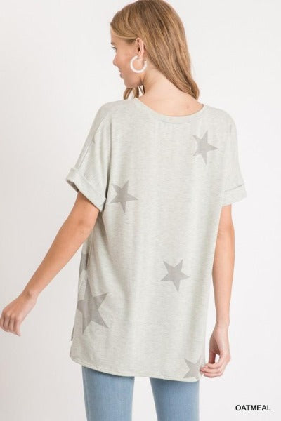 Cuff Sleeve V-Neck Star Top