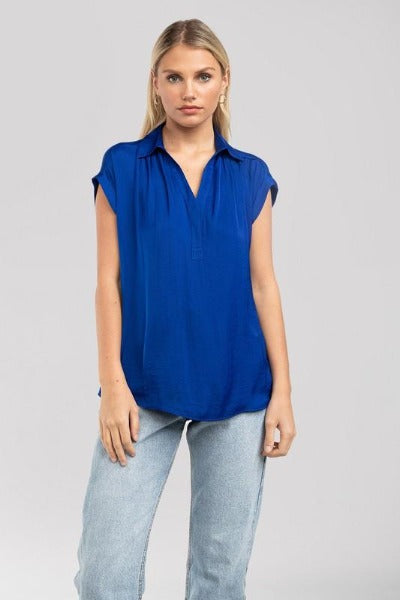 Half Placket Short Sleeve Top