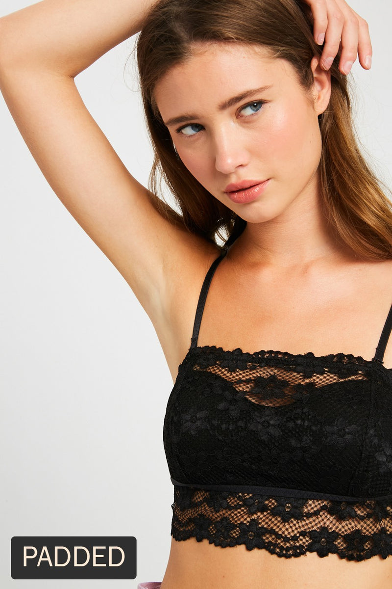 Removable Strap Lace Tube Bandeau Bralette