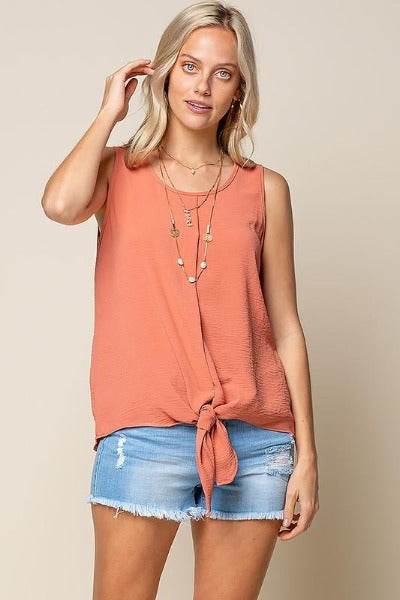 Sleeveless tie Front Woven Top