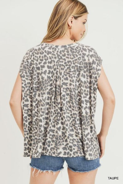 Cap Sleeve Leopard Top