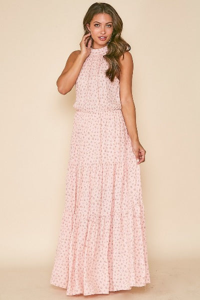 Halter Dainty Flower Maxi Dress