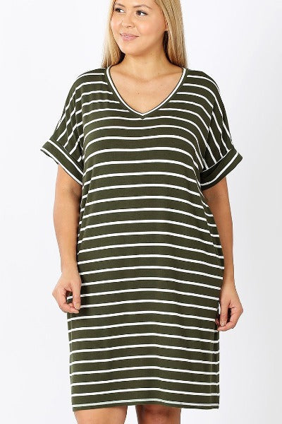 Plus Zen Stripe Roll Sleeve V-Neck Dress
