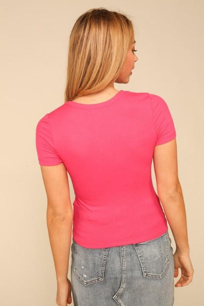 Basic Crop V-Neck Ribbed Top