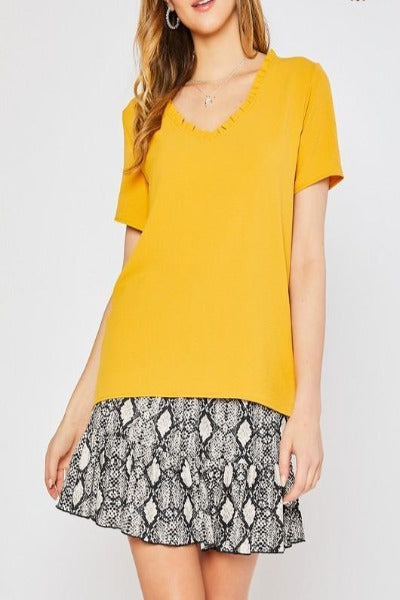 Ruffle Trim Neck Airflow Top