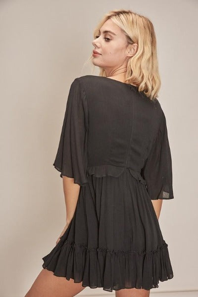 Ruffle Short Sleeve Romper Dress