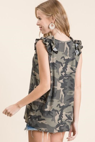 Camo Ruffle Shoulder Sleeveless Top