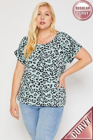 Plus Cuff Band Leopard Woven Top