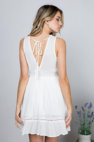 Lace Trim Mini Dress