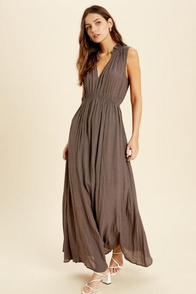 Smock Neck Sleeveless Maxi Dress