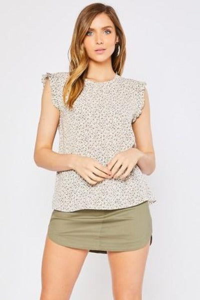 Abstract Print Cap Sleeve Top
