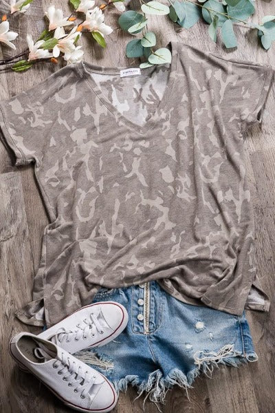 Camo Knit V-Neck Top