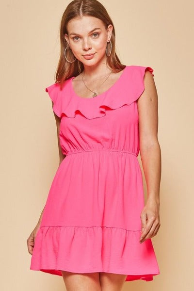 Round Ruffle Neck Dress